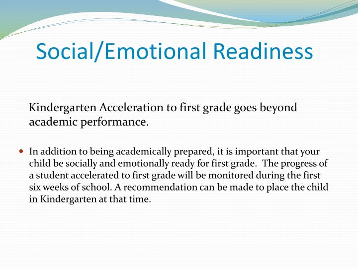 Social/Emotional Readiness