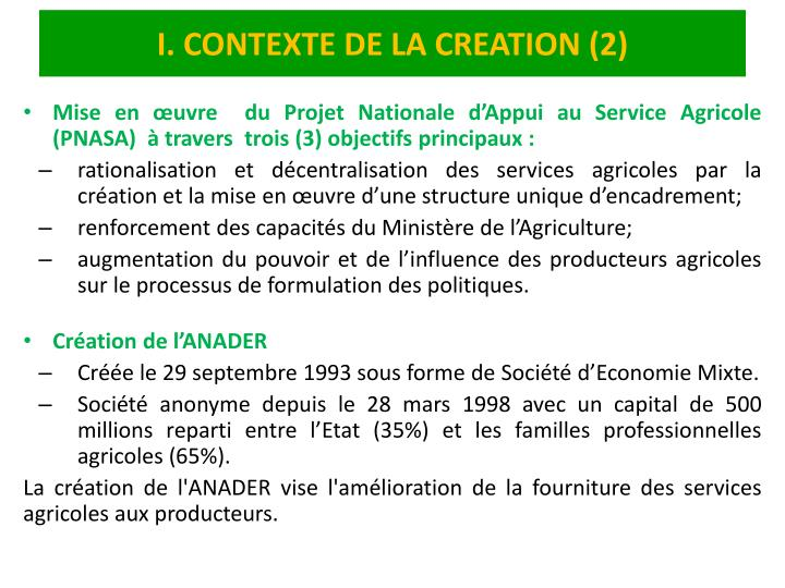 I. CONTEXTE DE LA CREATION (2)