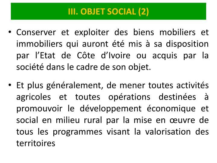 III. OBJET SOCIAL (2)
