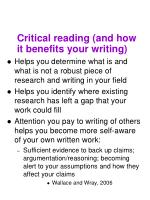 critical reading and how it benefits your writing