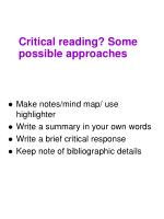critical reading some possible approaches1