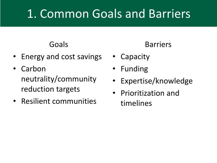 1. Common Goals and Barriers