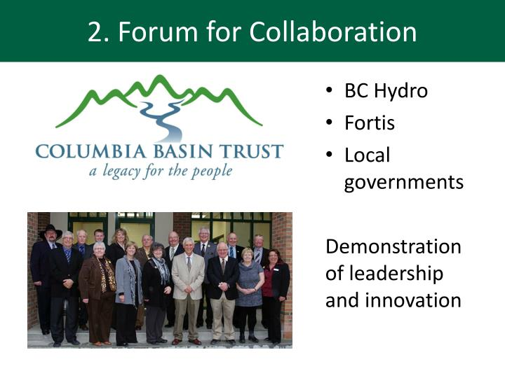 2. Forum for Collaboration