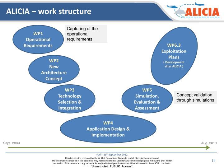ALICIA – work structure