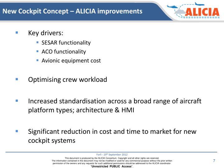 New Cockpit Concept – ALICIA improvements