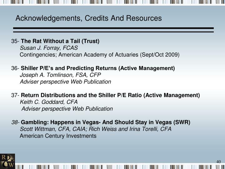 Acknowledgements, Credits And Resources