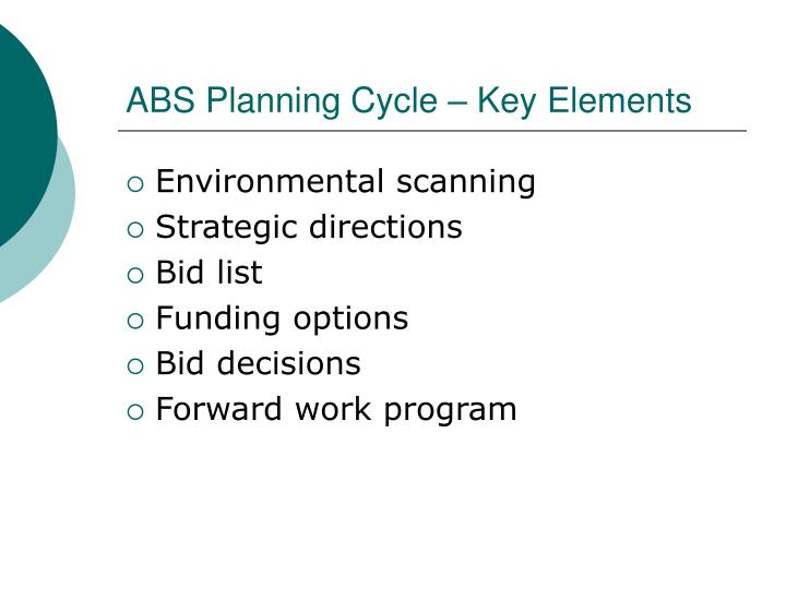 ABS Planning Cycle – Key Elements