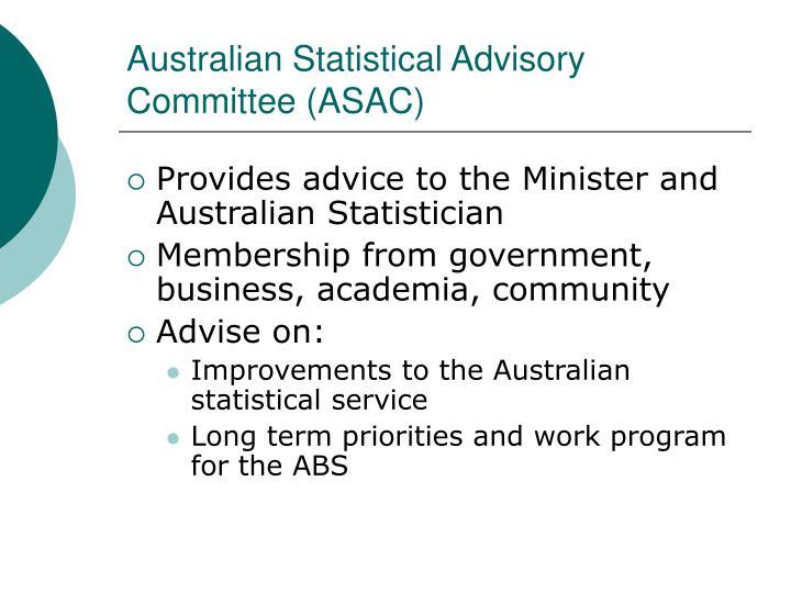 Australian Statistical Advisory Committee (ASAC)