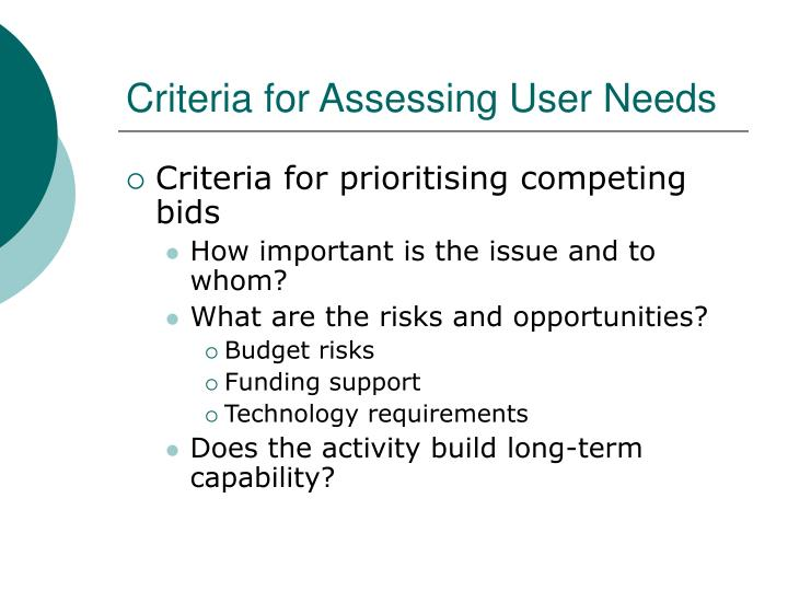 Criteria for Assessing User Needs