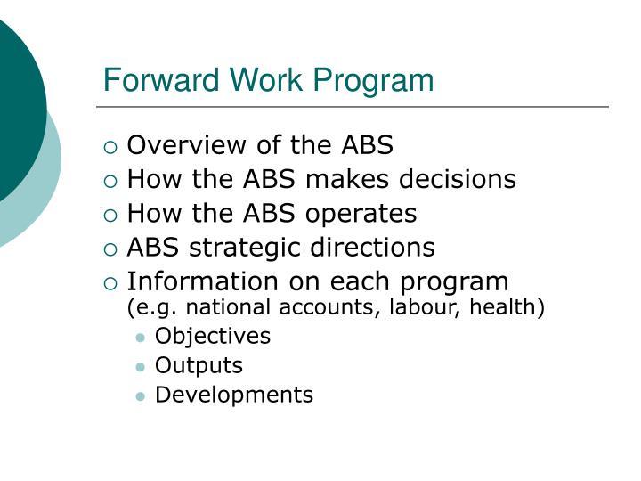 Forward Work Program