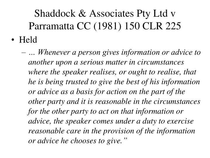 Shaddock & Associates Pty Ltd v Parramatta CC (1981) 150 CLR 225