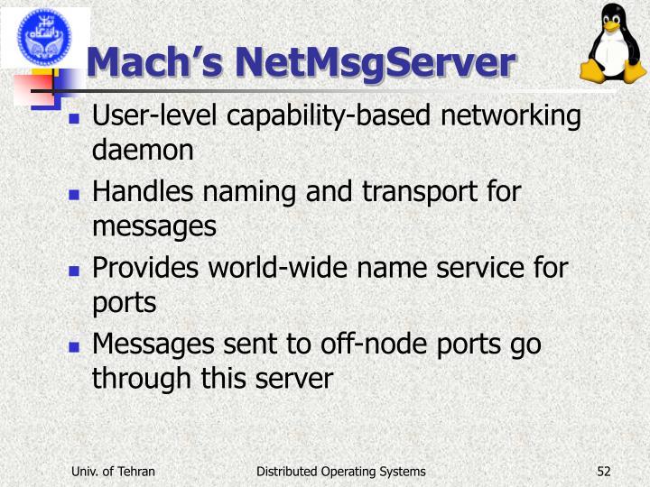 Mach's NetMsgServer