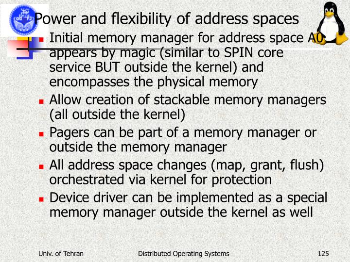 Power and flexibility of address spaces