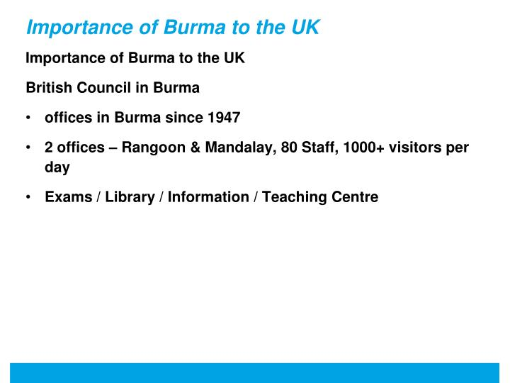Importance of burma to the uk