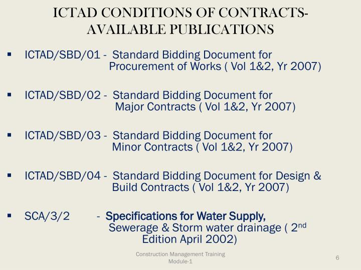 ICTAD CONDITIONS OF CONTRACTS-AVAILABLE PUBLICATIONS