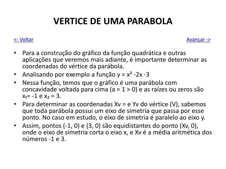 VERTICE DE UMA PARABOLA