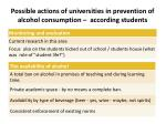 possible actions of universities in prevention of alcohol consumption according students1