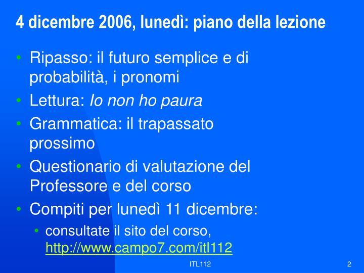 4 dicembre 2006 luned piano della lezione