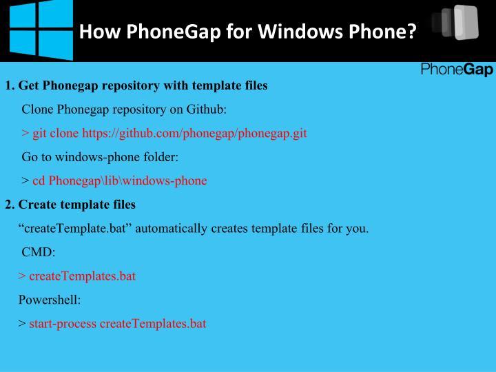 How PhoneGap for Windows Phone?