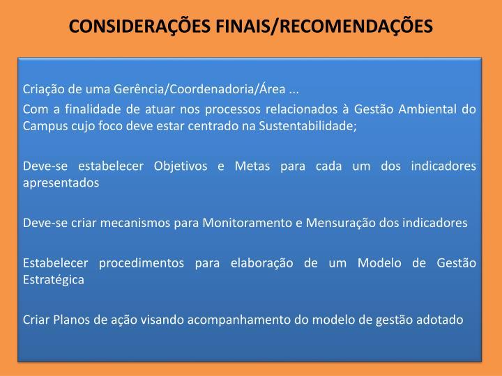 CONSIDERAÇÕES FINAIS/RECOMENDAÇÕES