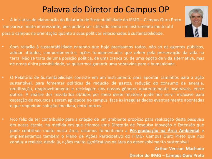 Palavra do Diretor do Campus OP
