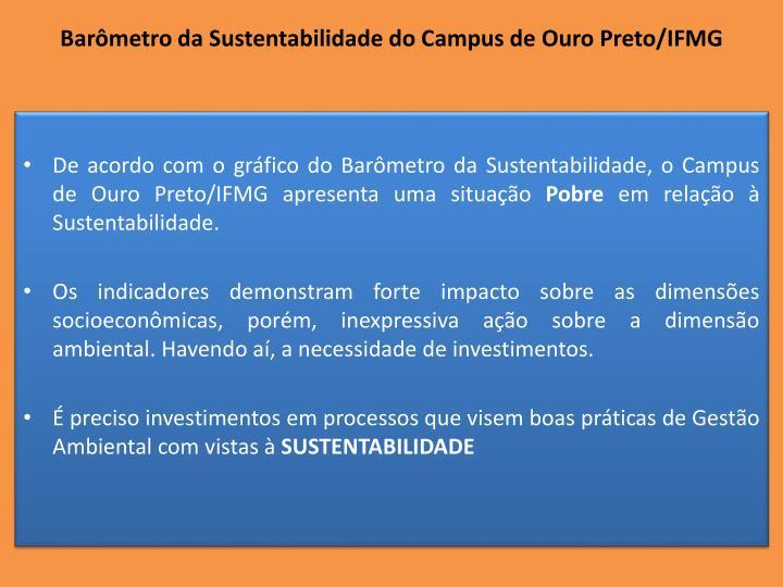 Barômetro da Sustentabilidade do Campus de Ouro Preto/IFMG