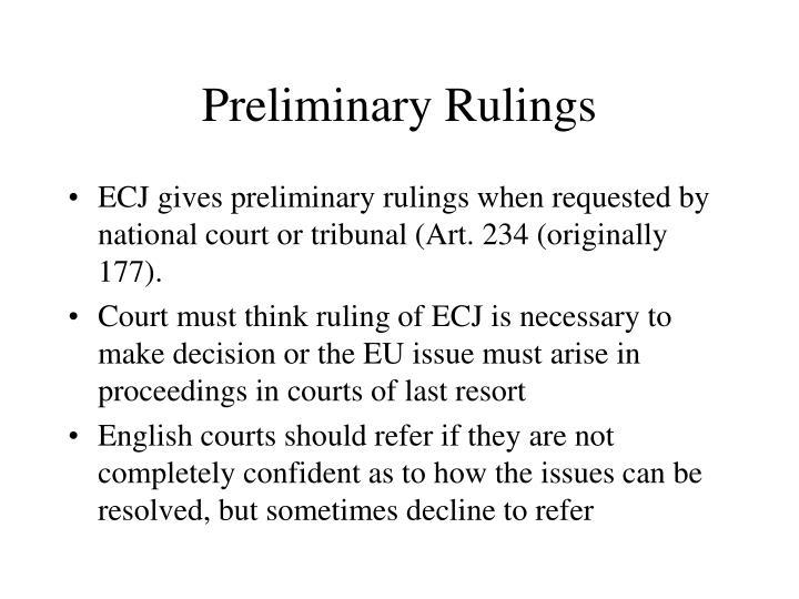 Preliminary Rulings