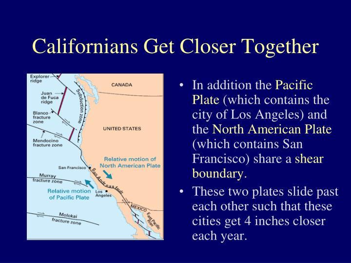 Californians Get Closer Together