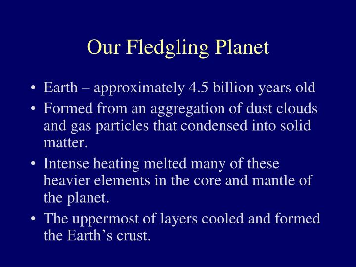 Our fledgling planet