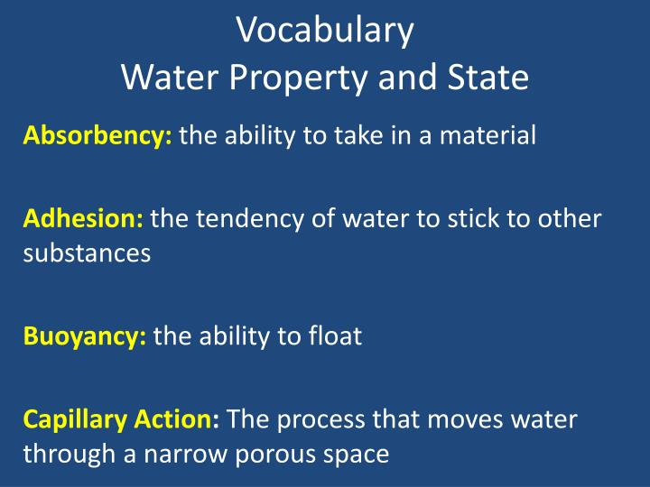 vocabulary water property and state n.