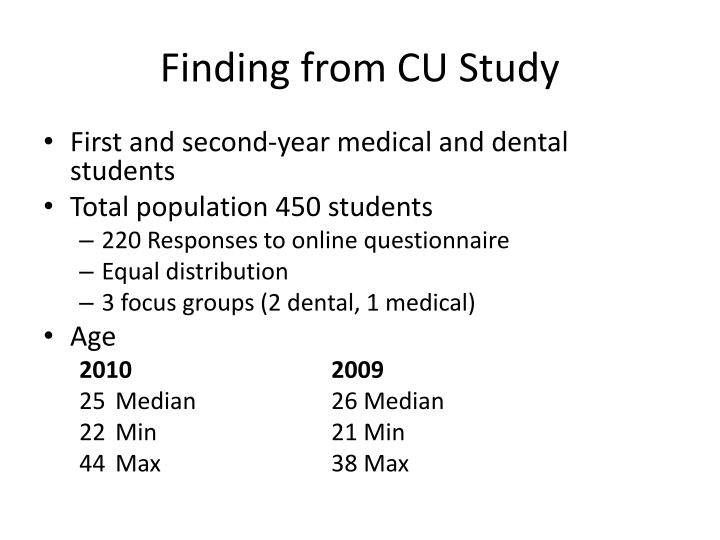 Finding from CU Study
