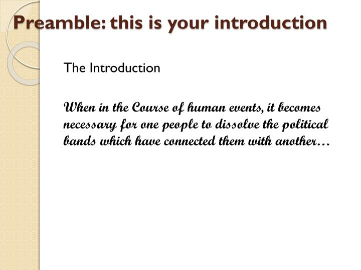 Preamble this is your introduction
