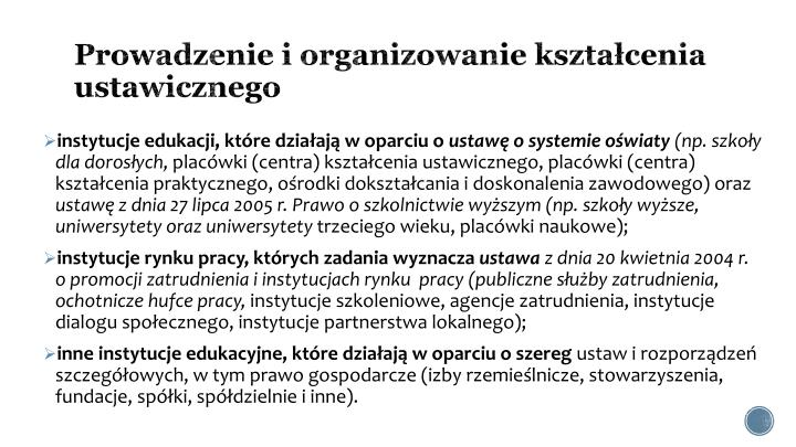 Prowadzenie i organizowanie kształcenia