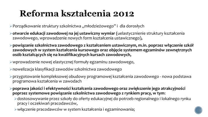 Reforma kształcenia 2012