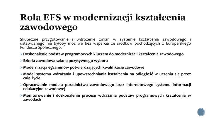 Rola EFS w modernizacji kształcenia zawodowego