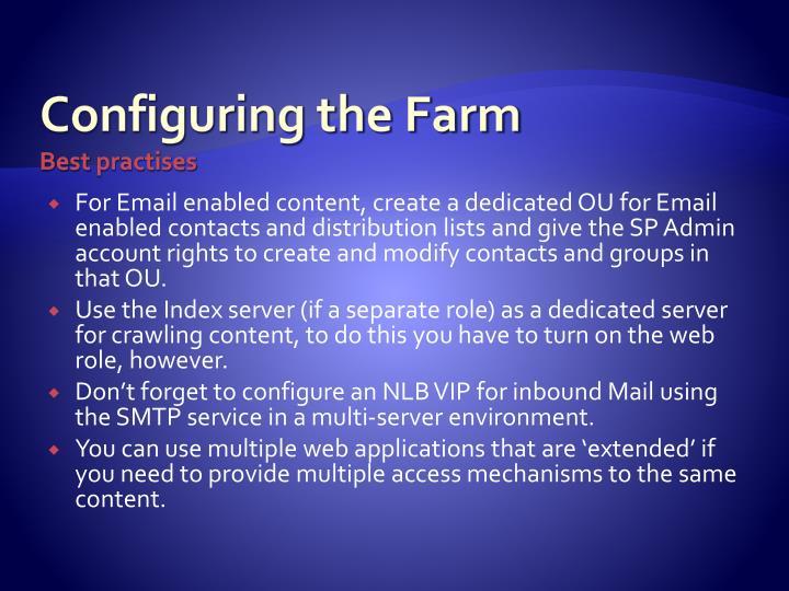 Configuring the Farm