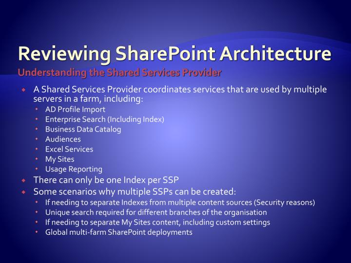 Reviewing SharePoint Architecture