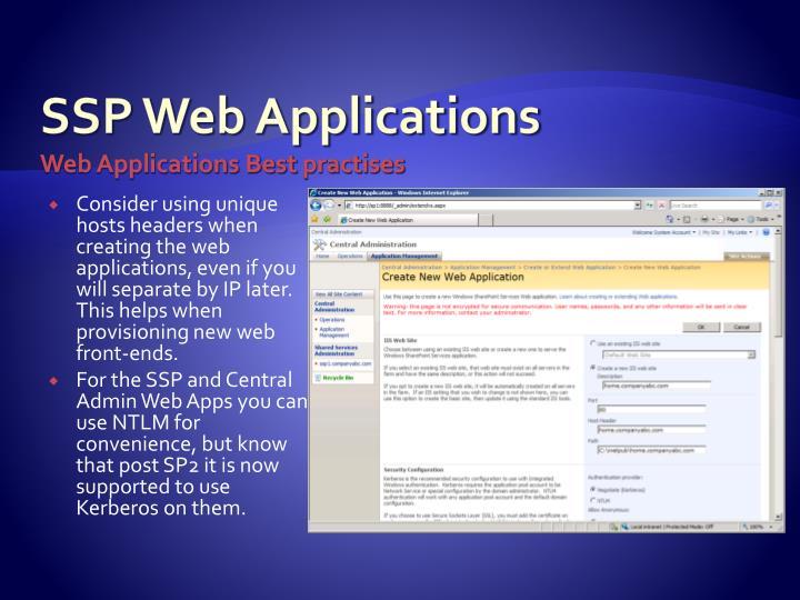 SSP Web Applications