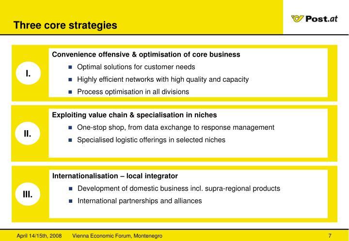 Three core strategies