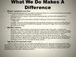 what we do makes a difference