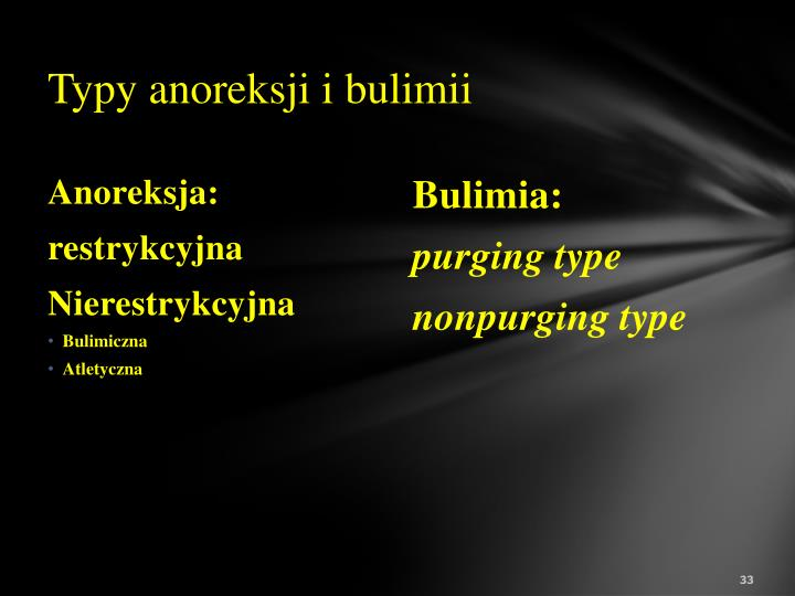 Typy anoreksji i bulimii