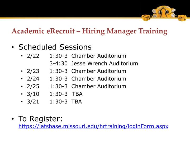 Academic eRecruit – Hiring Manager Training