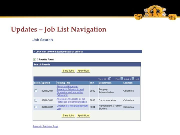 Updates – Job List Navigation