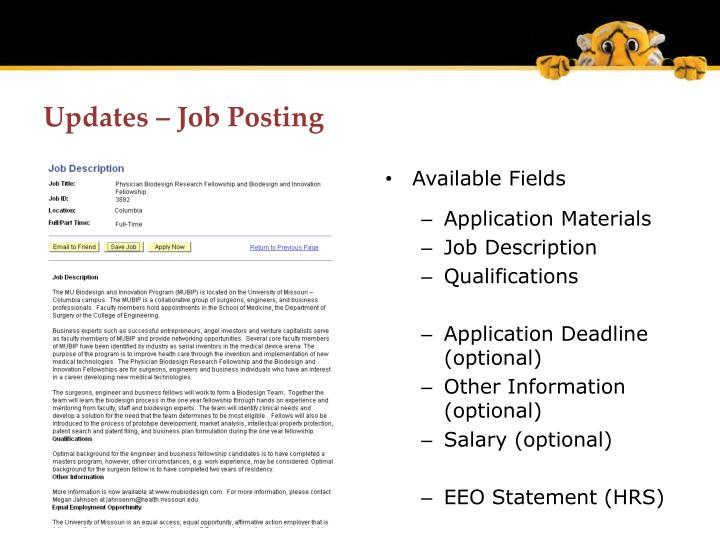 Updates – Job Posting