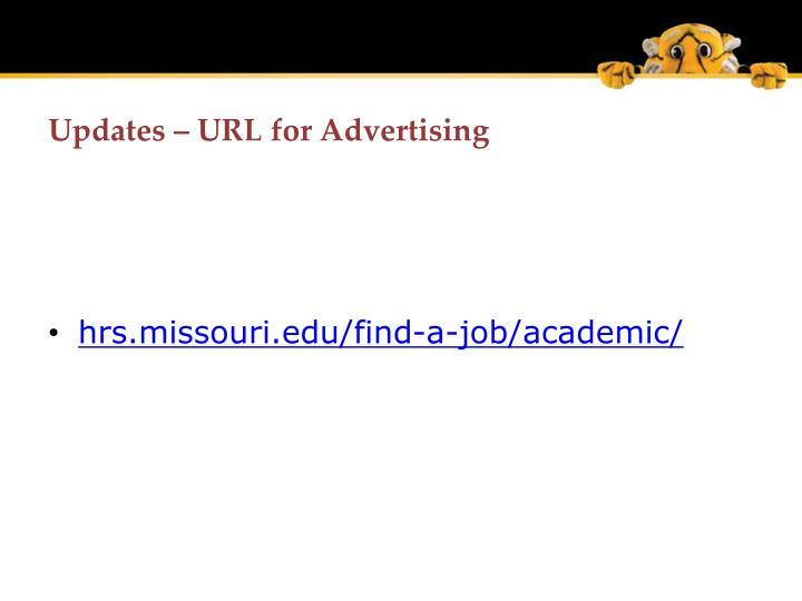 Updates url for advertising