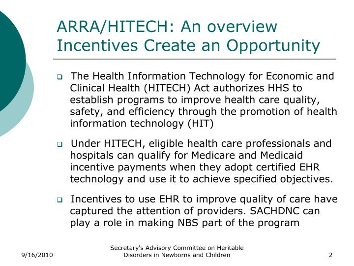 Arra hitech an overview incentives create an opportunity