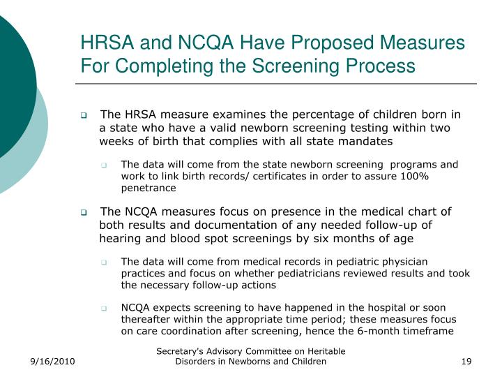 HRSA and NCQA Have Proposed Measures For Completing the Screening Process