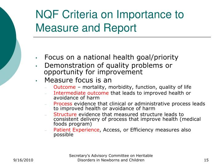 NQF Criteria on Importance to Measure and Report