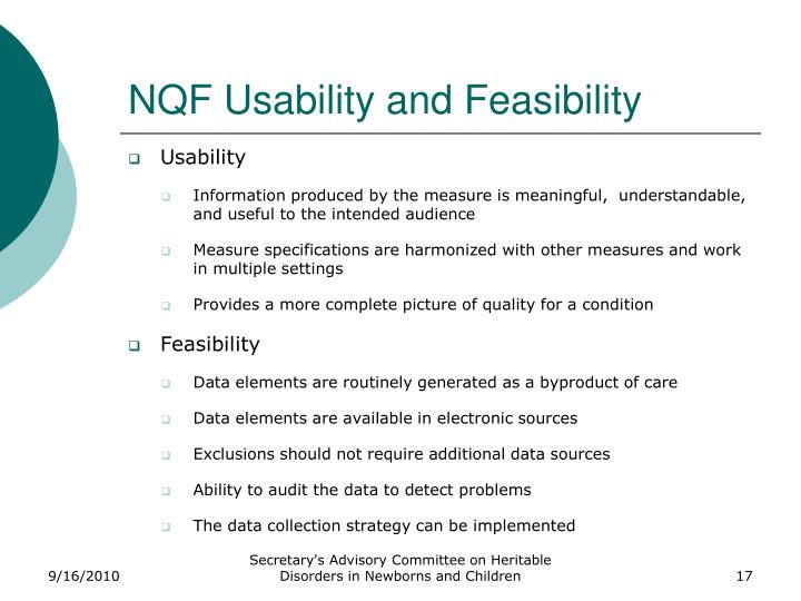 NQF Usability and Feasibility