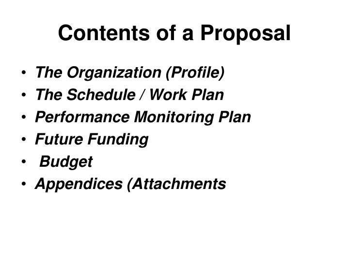 Contents of a Proposal
